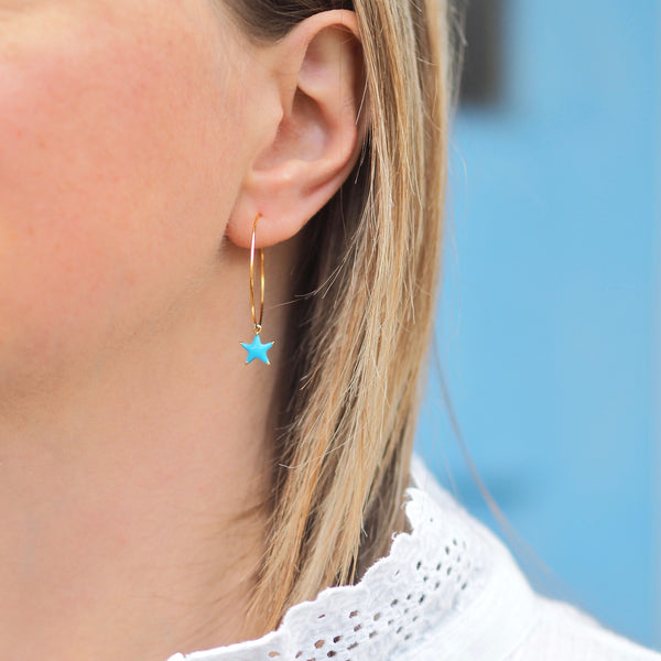 Enamel Star Hoops - Gold/ Blue