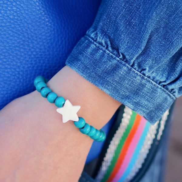 Wooden Star Bracelet - Blue