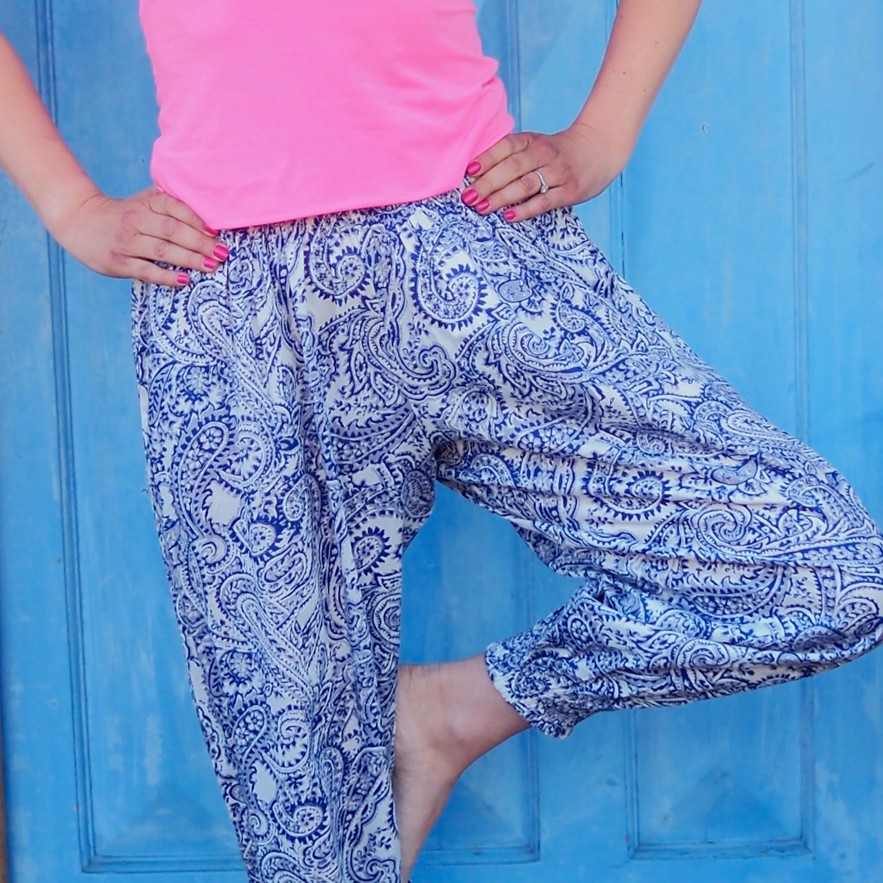 Blue Paisley Yoga Pants - Regular