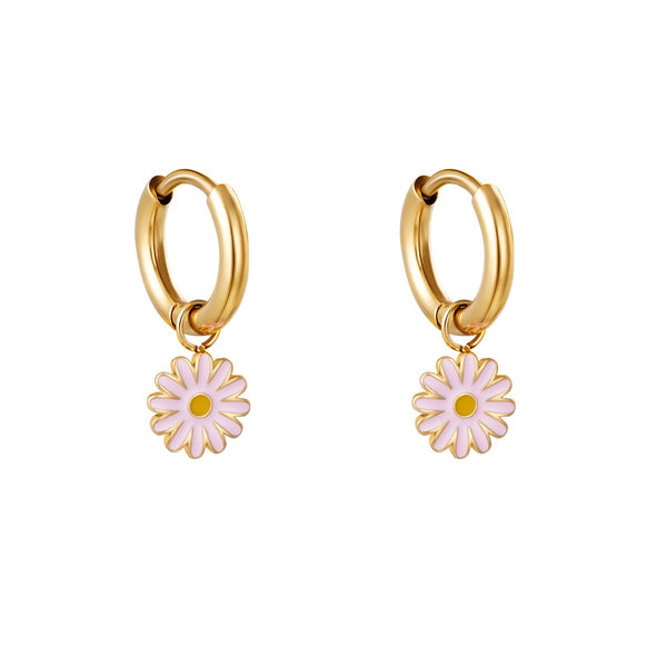 Mini Hoops Earrings - Pink Flower Gold
