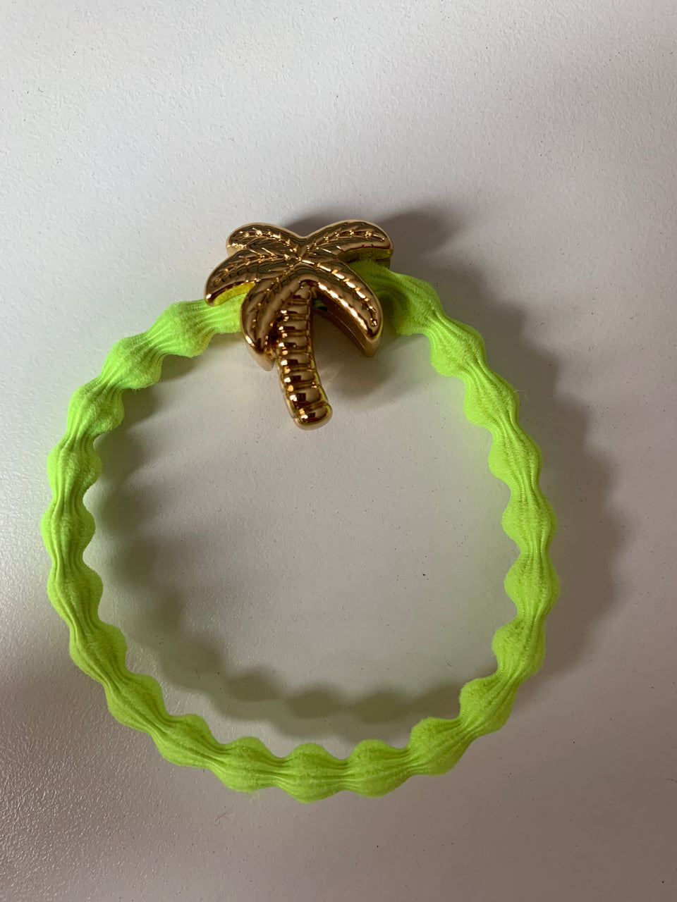 Gold Palm Tree Neon Yellow Hairtie / Wristee