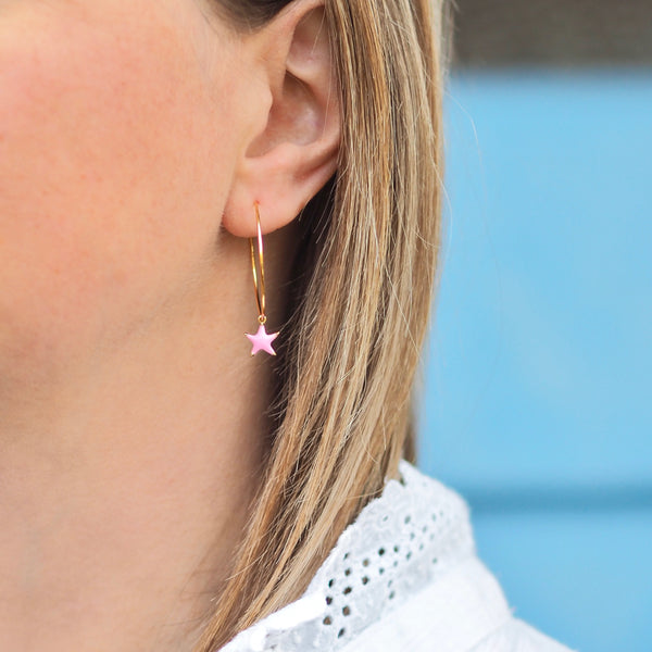Enamel Star Hoops - Gold/ Pink