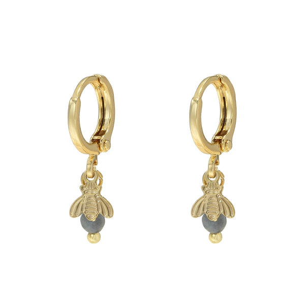 Mini Hoops Earrings - Sweet Bee GOLD