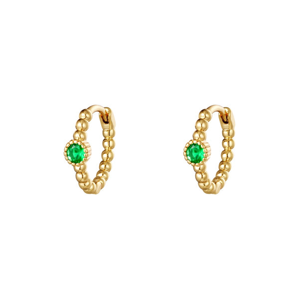 Lockdown Sparkle Mini Hoops - Gold/ Green