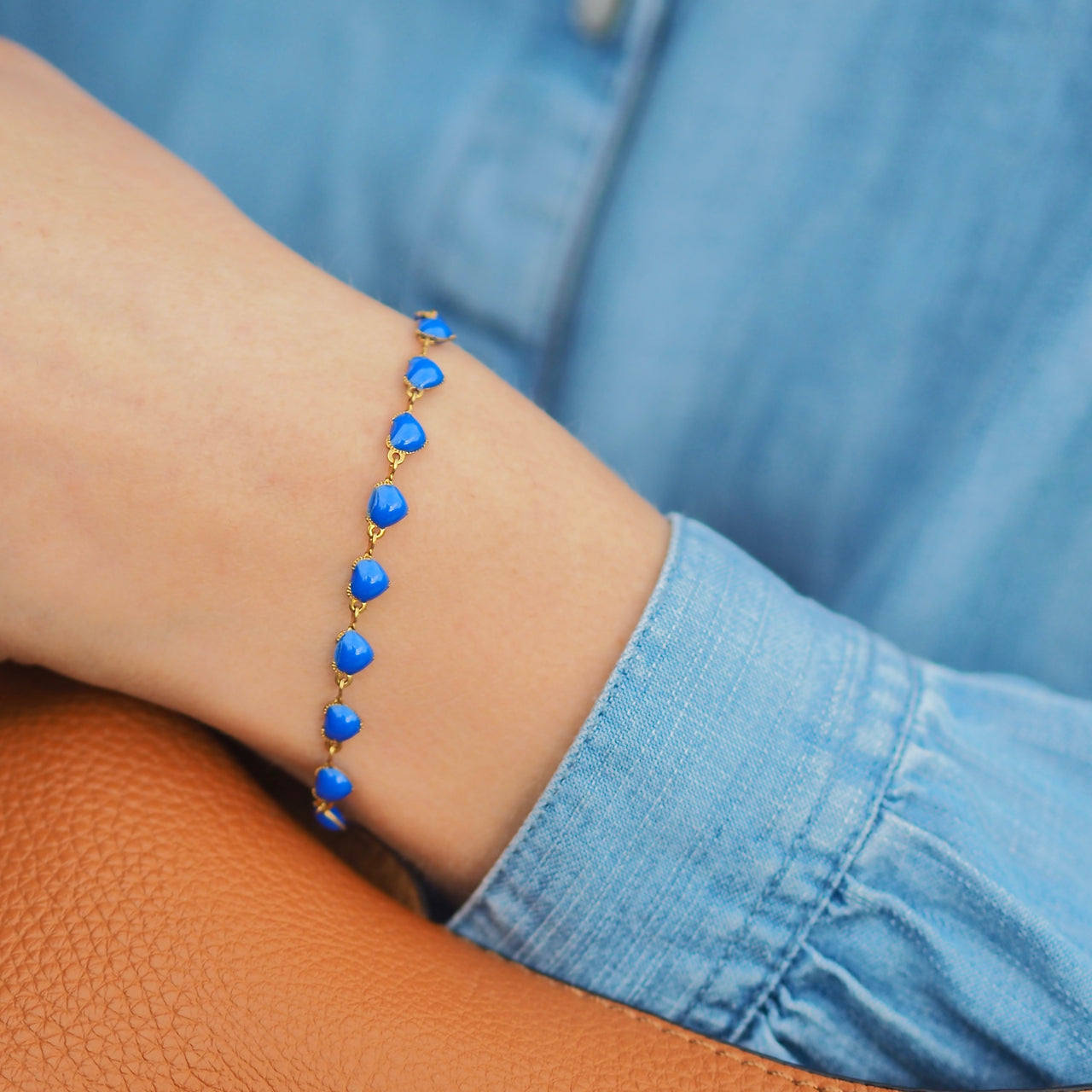 Heart Bracelet - Blue/ Gold