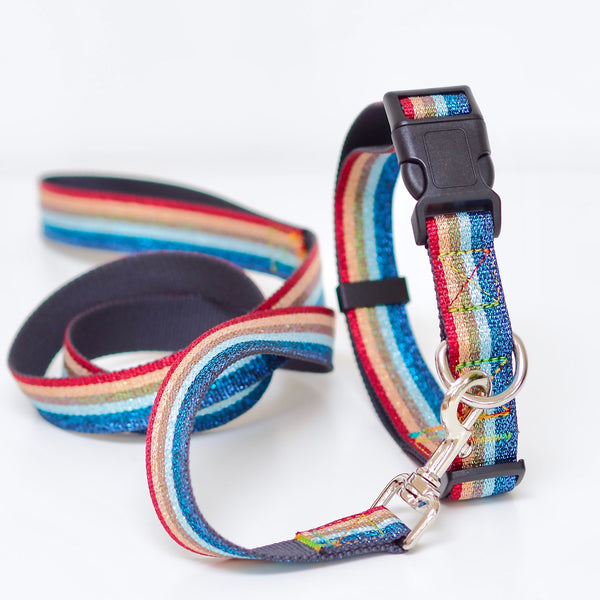 Rainbow Dog Lead and Collar Set