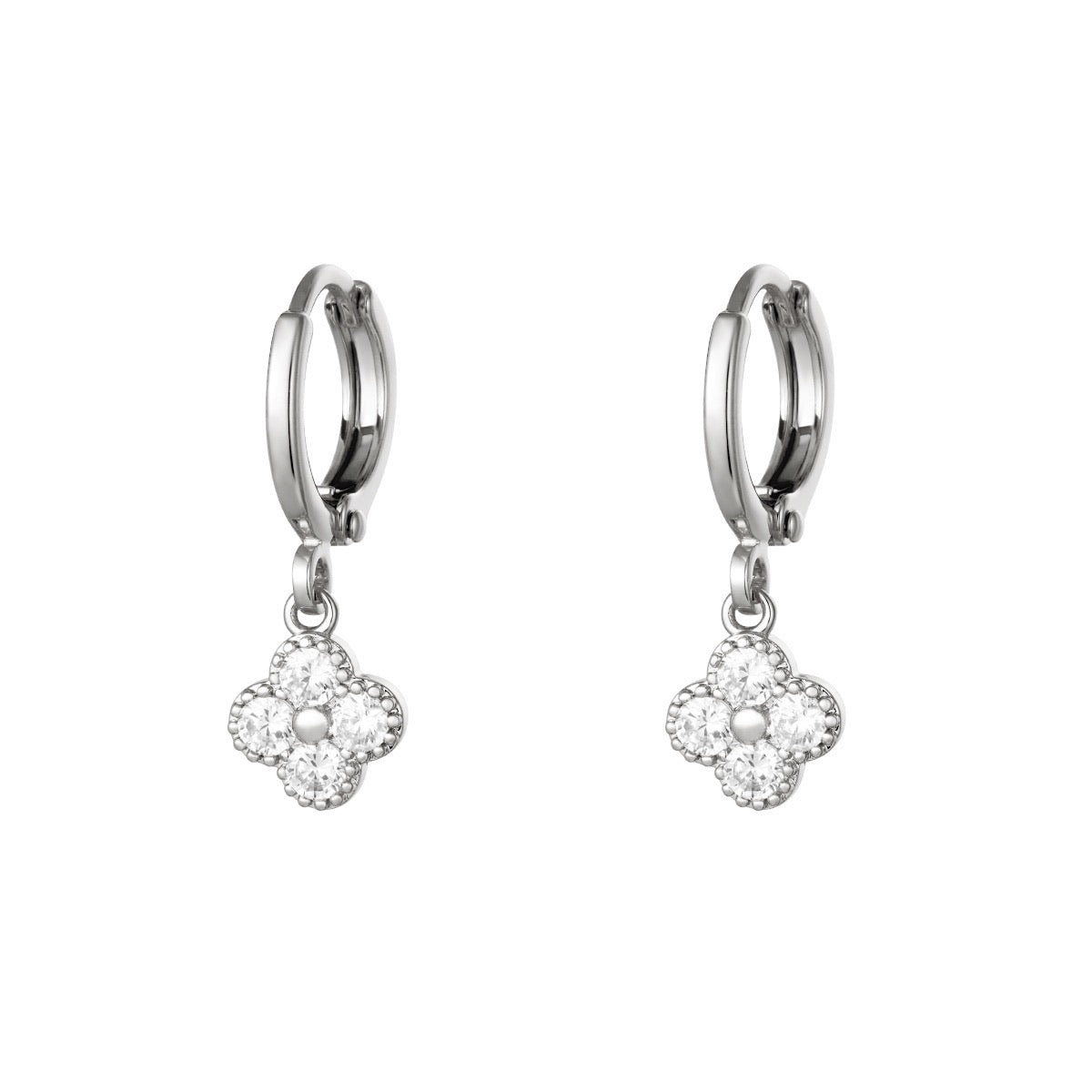 Mini Hoops Earrings - Clover Silver