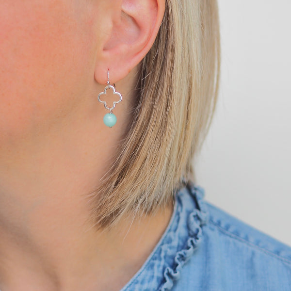 Little Clover Earrings - Silver/ Aqua