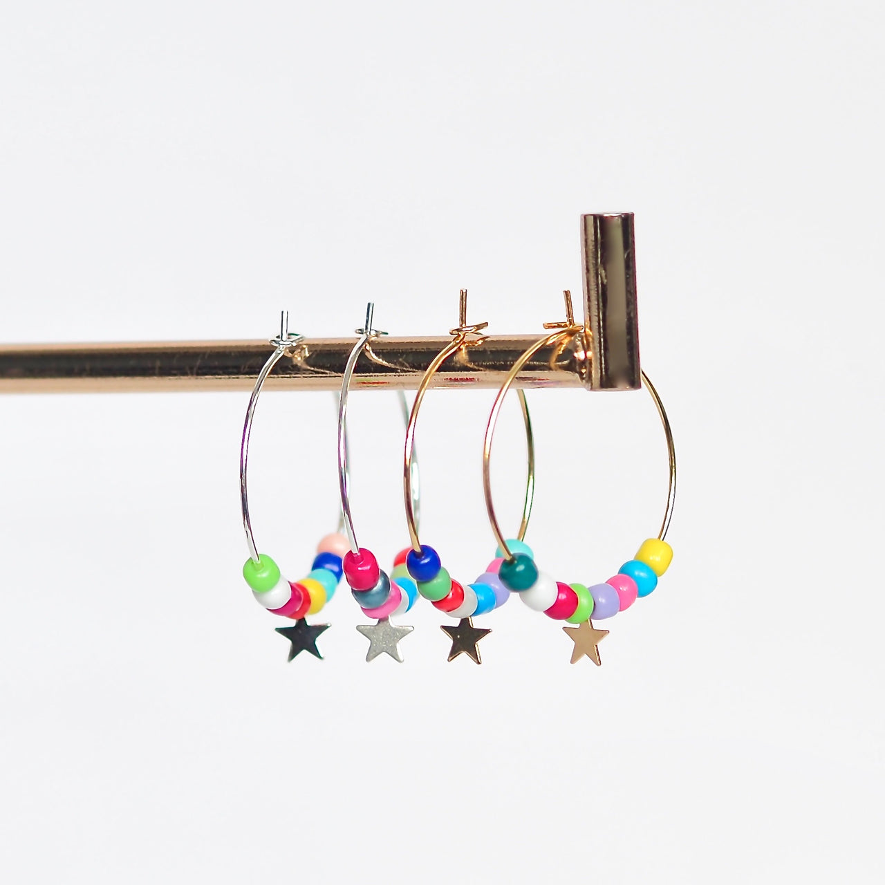 Rainbow Star Hoops - Silver