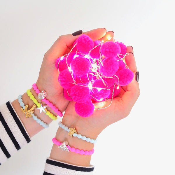 Neon Pink Gold Strawberry Wristee | Gift Pop Boutique