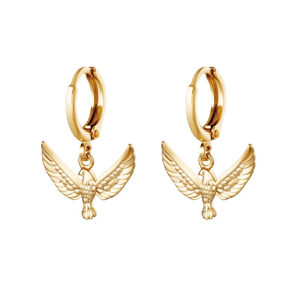 Mini Hoops Earrings - Freedom Birds Gold