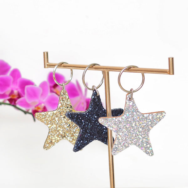Glittery Star Keyring Navy Blue | Gift Pop Boutique