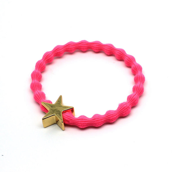 Gold Star Neon Pink Hairtie / Wristee
