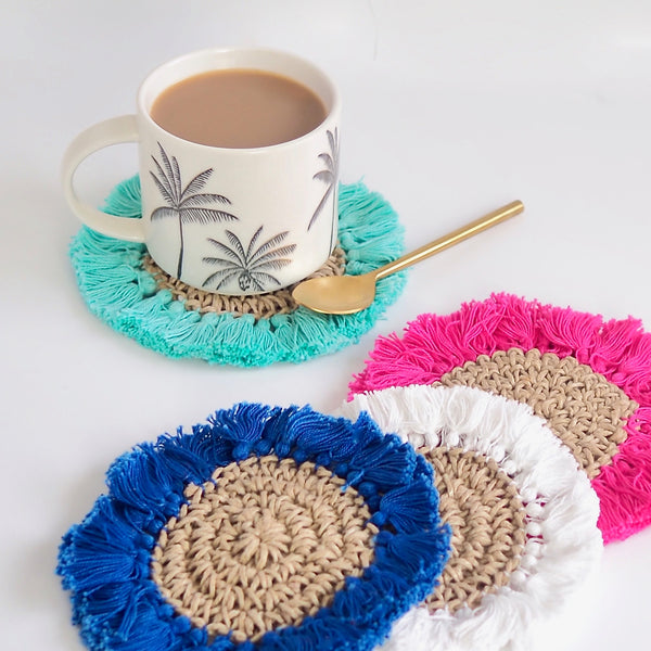 MINI ( Coaster ) Tassel Mat - Blue