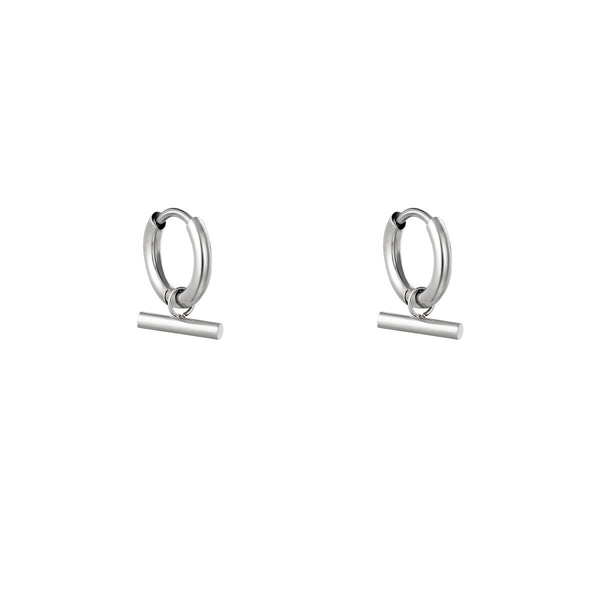 Mini Hoops Earrings - Bar Silver