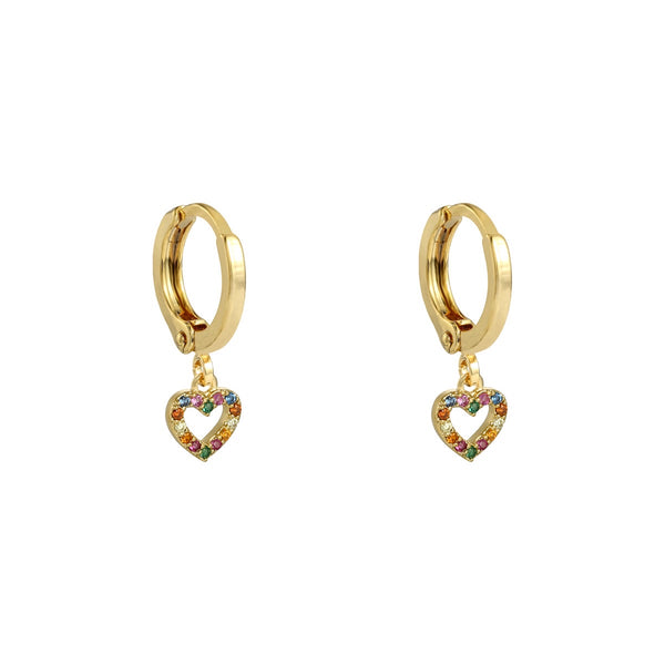 Mini Hoop Zirconia Heart Gold
