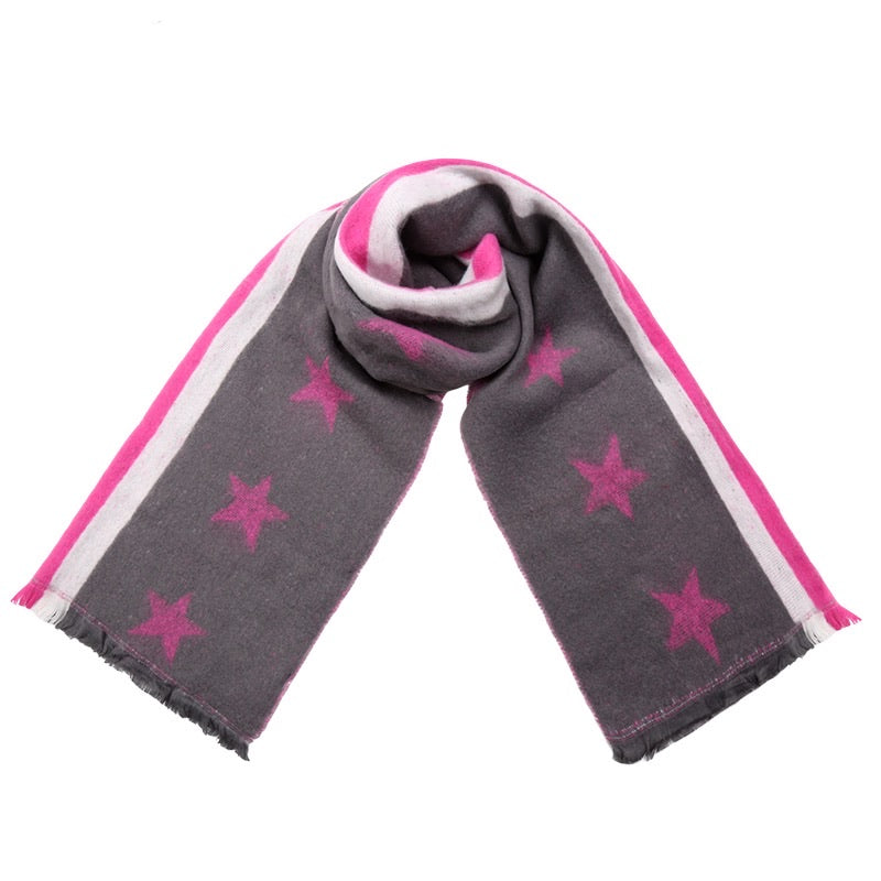 Starry Scarf - Pink & Grey