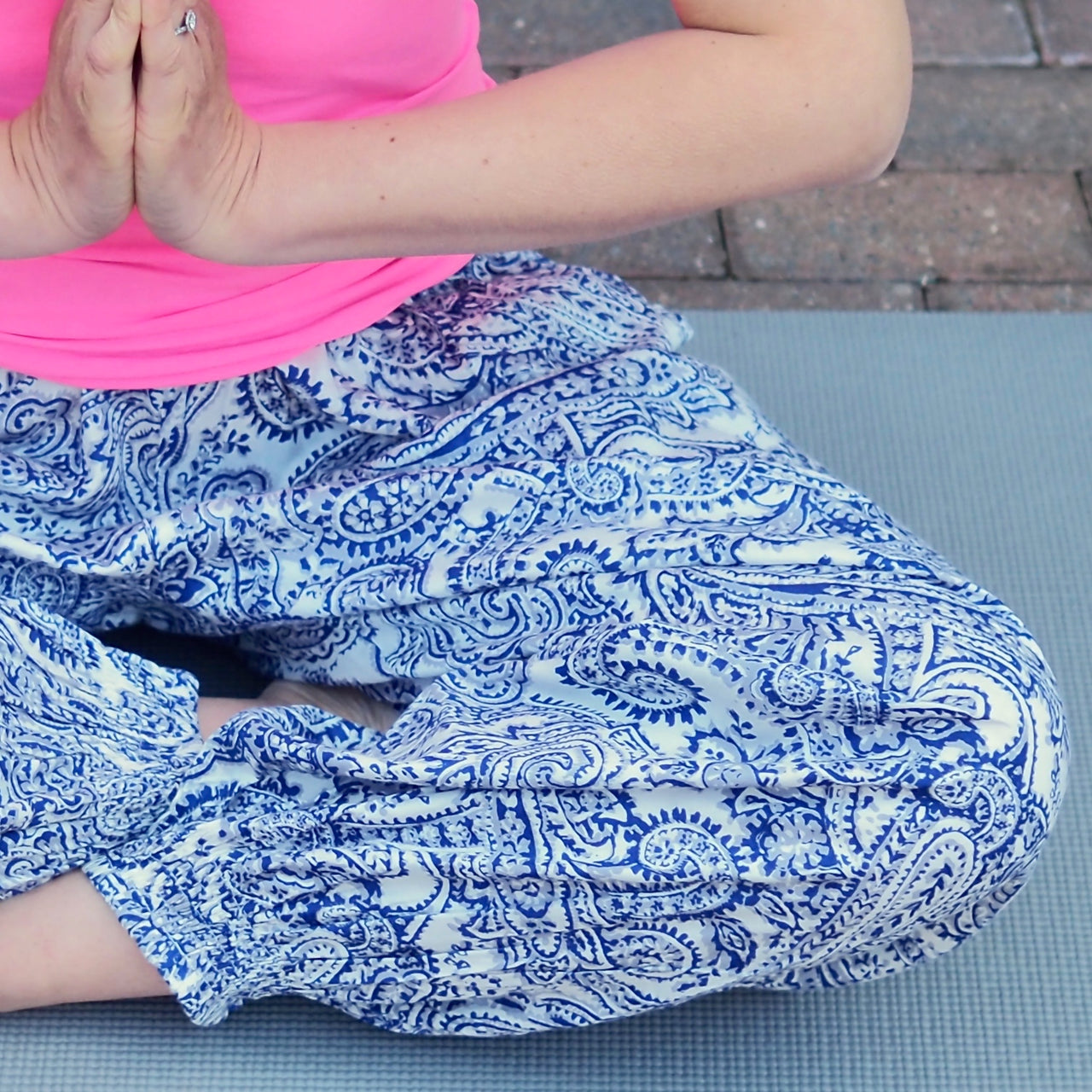 Blue Paisley Yoga Pants - Xtra Long