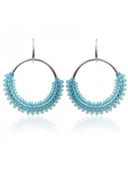 Skyla Hoops - Silver and Blue | Gift Pop Boutique