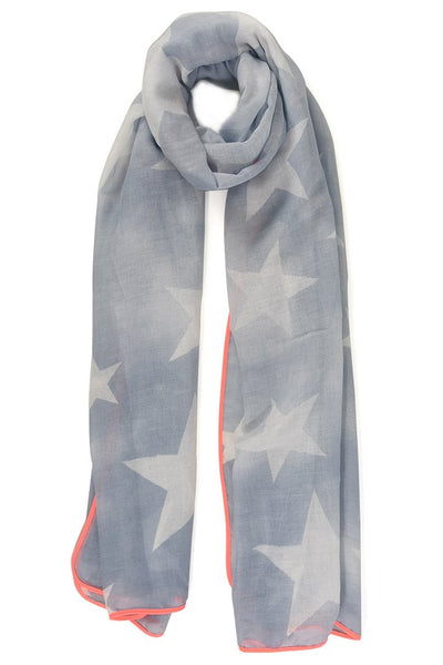 Starry Scarf Denim Blue Neon Pink Trim | Gift Pop Boutique