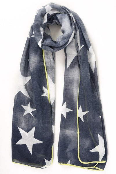 Starry Scarf Navy Blue Neon Yellow Trim | Gift Pop Boutique