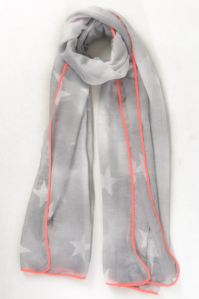 Starry Scarf Grey Neon Pink Trim | Gift Pop Boutique