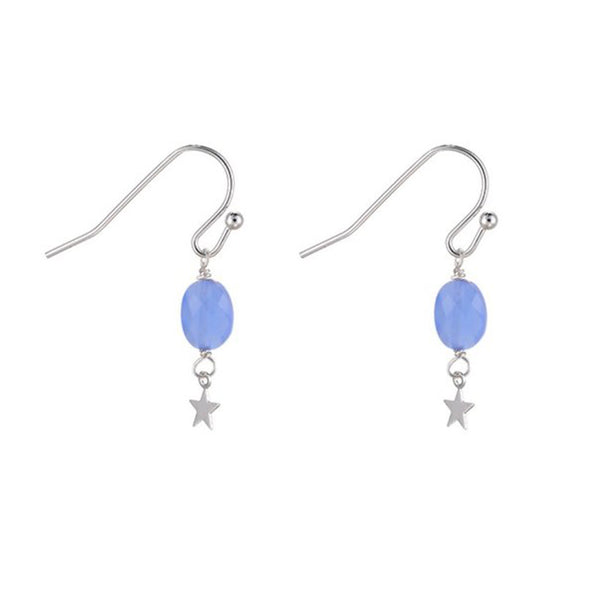 Star Drop Earrings -Blue/ Silver