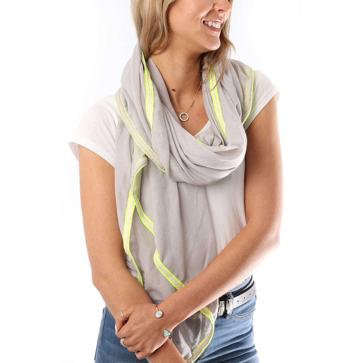 Light Grey & Neon Yellow Stripe Scarf | Gift Pop Boutique