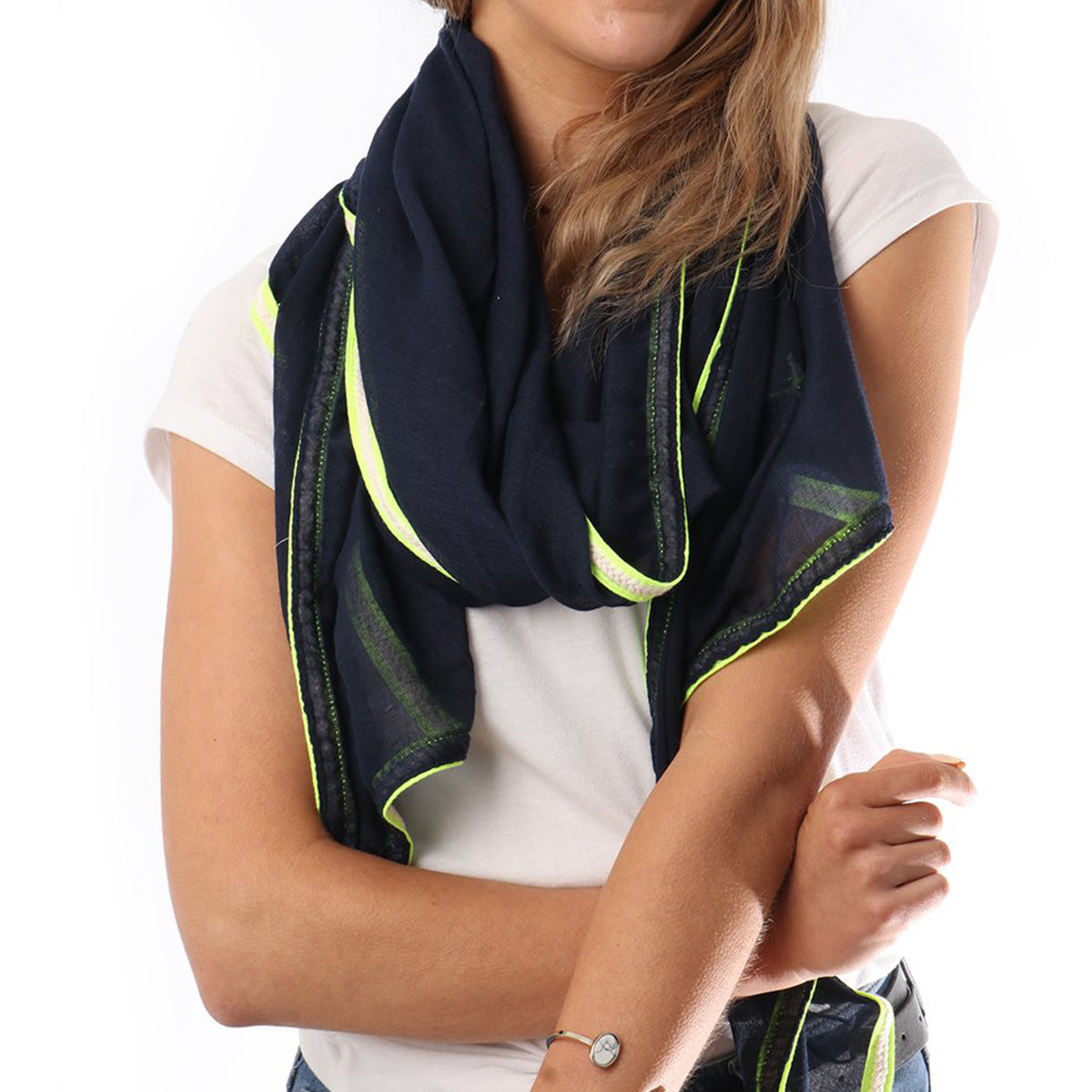 Navy & Neon Yellow Stripe Scarf | Gift Pop Boutique