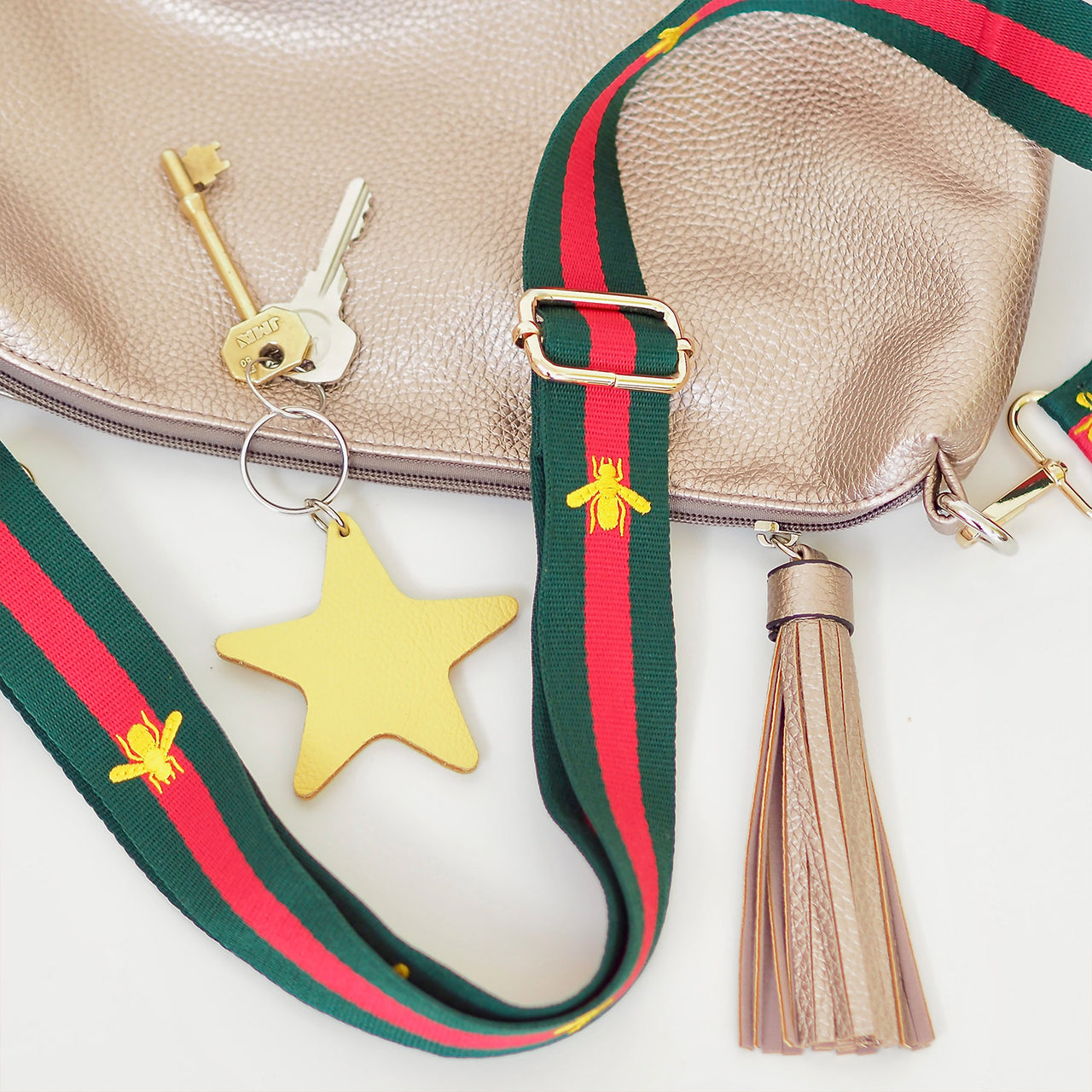 Green & Red Bee Strap GOLD ENDS | Gift Pop Boutique