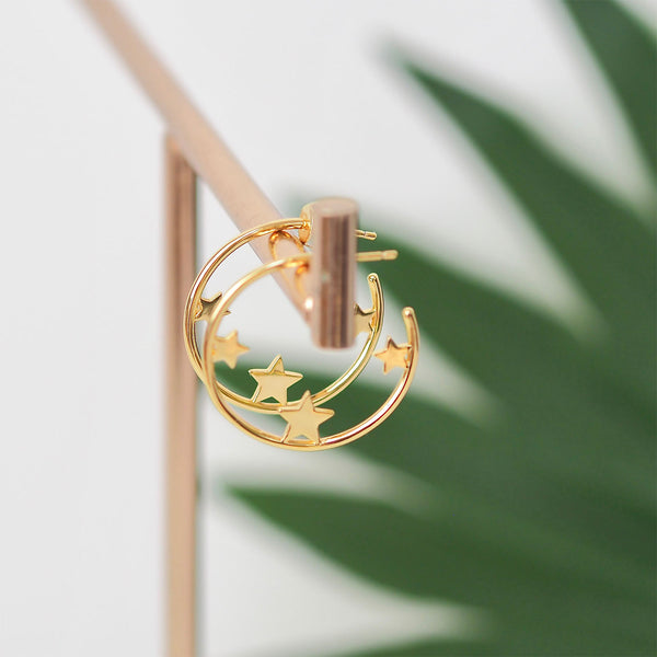 Trio Star Hoops - Gold | Gift Pop Boutique