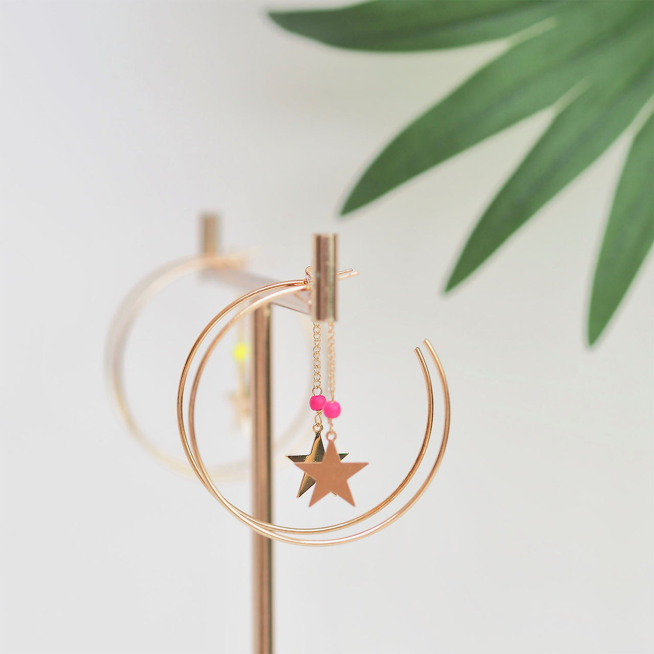 Large Gold Hoop Star Drop - Pink | Gift Pop Boutique