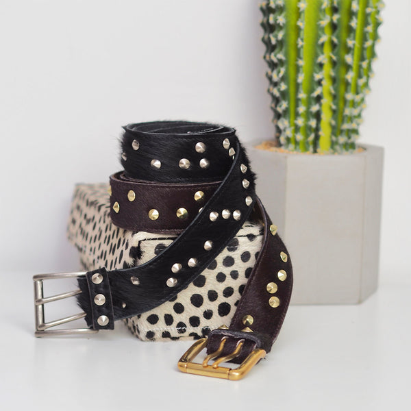 Limited Edition Studded Belt - Dark Brown with Gold | Gift Pop Boutique