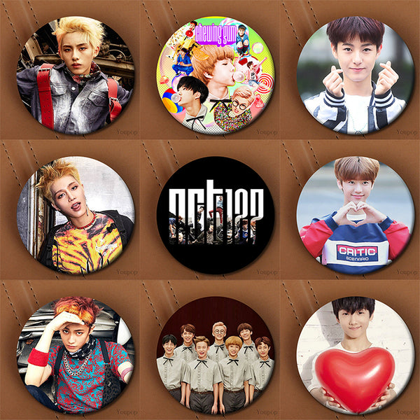 Neo Culture Technology NCT 127 Brooch Pins Taeyong, Jaehyun, Taeil, Mark, Yuta, Haechan, WinWin Mega K-pop