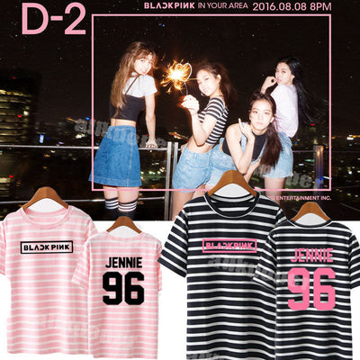 (All BIAS Names) Black Pink One Size Striped T-Shirt