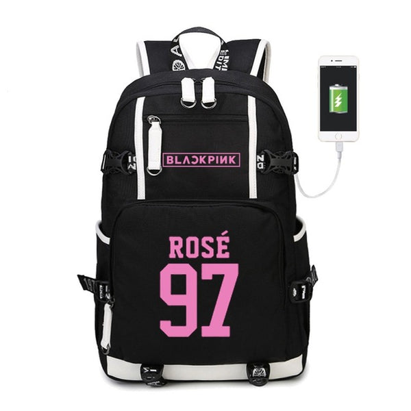 BLACK PINK BLACKPINK BLΛƆKPIИK BIAS LISA JENNIE ROSÉ JISOO BLINK BACKPACK BAG