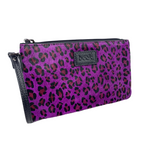 Fuchsia Purple Wild Child Leopard Ziplet Leather Beck Bag