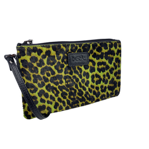 Load image into Gallery viewer, Lime Green Wild Child Leopard Ziplet Leather Beck Bag