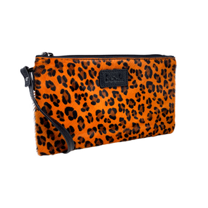Orange Wild Child Leopard Ziplet Leather Beck Bag