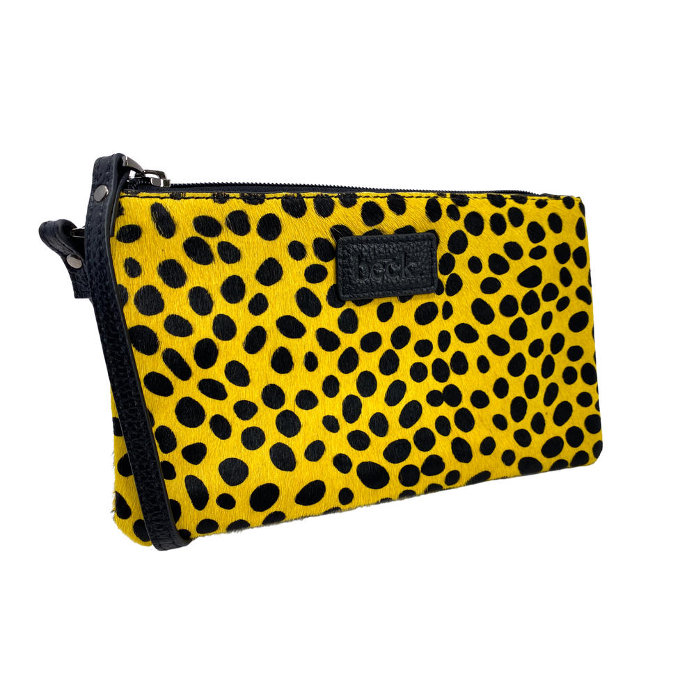 Yellow Spotted  Wild Child Leopard Ziplet Leather Beck Bag