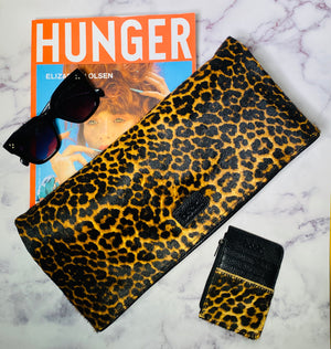 Wild Child Leopard Print Leather Cynthia Clutch