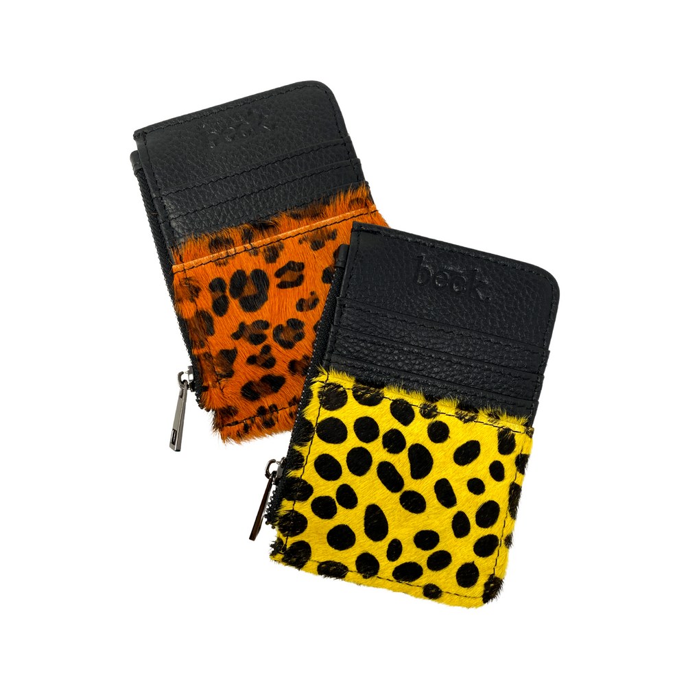 Wild Child Animal Print Bold Beck Leather Card / Coin Wallet