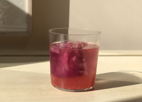 Sparkling Water with Watermelon Juice and Rose Ice