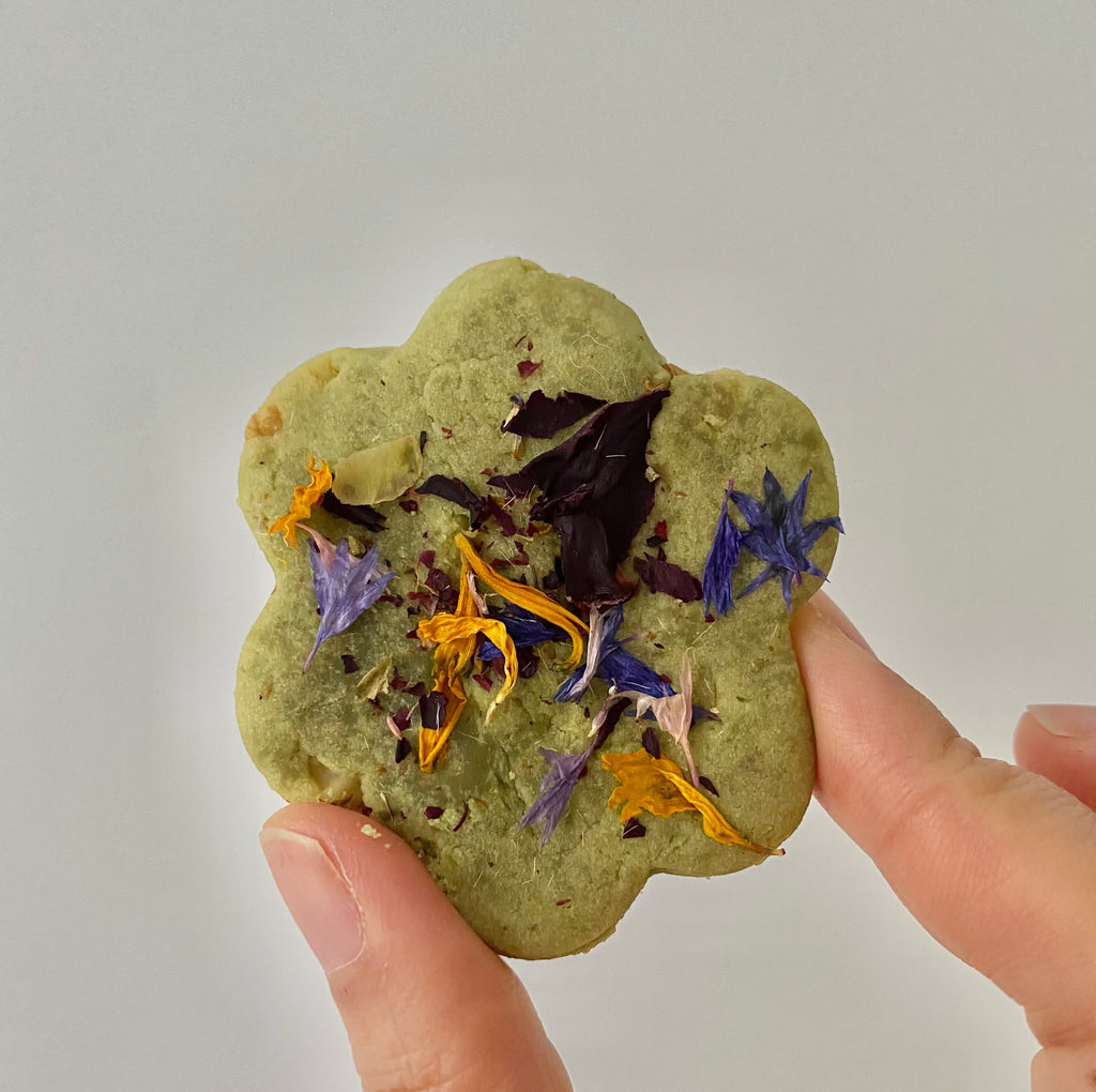 The Qi matcha cookies with edible flower petals