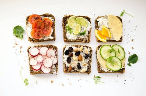 group of toasts showing balanced meal
