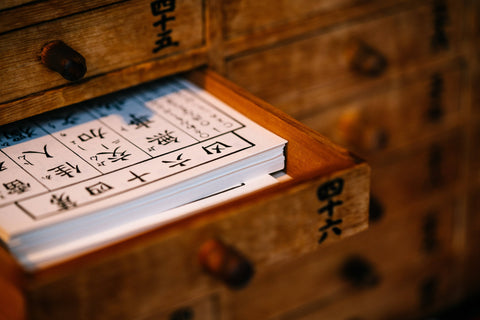Chinese letters in drawer to show enhancing your Qi