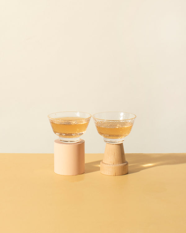 Small glass cups with gold rim (set of 2)
