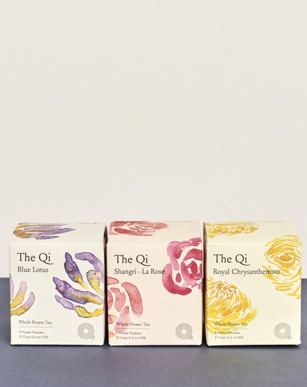 blue lotus, rose, chrysanthemum flower wellness tea