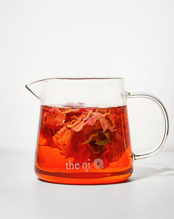glass pot flower tea server