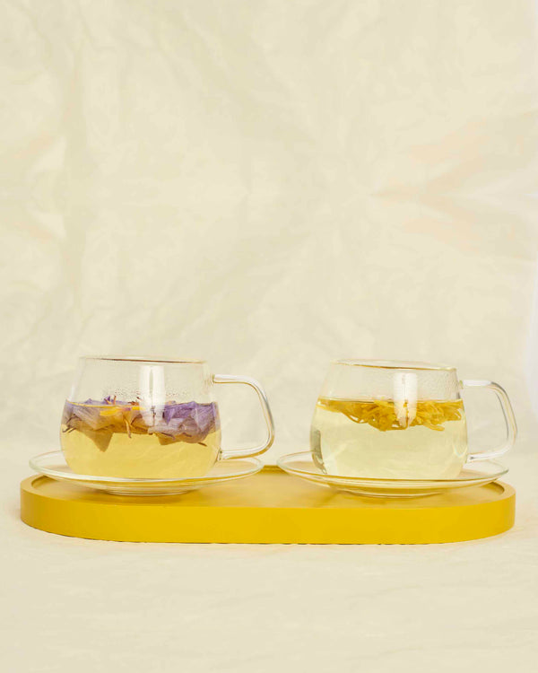 modern glass cup and saucer set